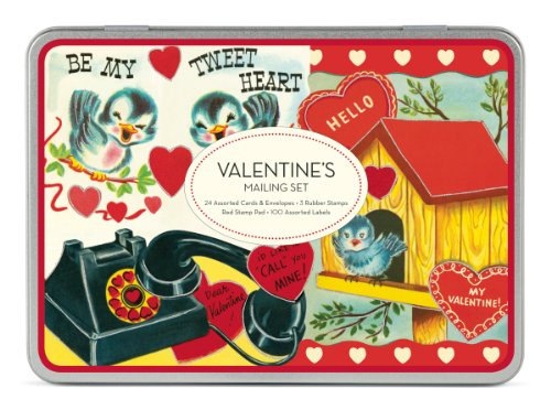 Cavallini & Co. Valentine's Mailing Set [with 24 Glittered Cards and 24 Envelopes and 3 Rubber Stamps and Red Stamp Pad] -