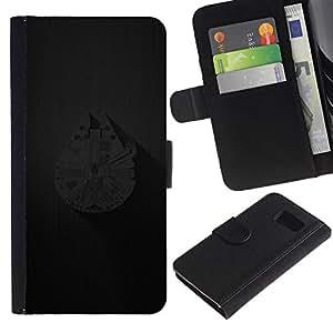 JackGot ( Millenium Falcoln Ship ) Samsung Galaxy S6 la tarjeta de Crédito Slots PU Funda de cuero Monedero caso cubierta de piel