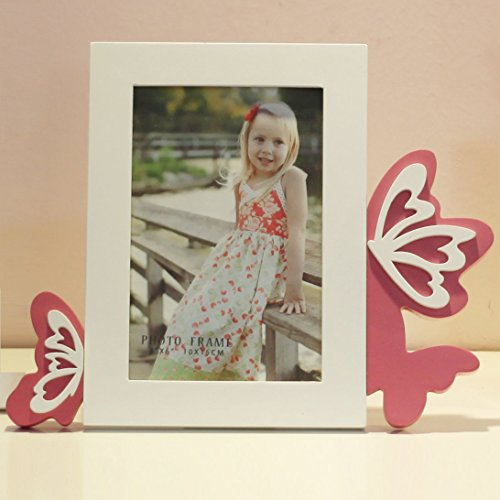Talented Things 4 x 6 Wooden Photo Frame in White, Easter Theme with Pink Butterflies, Butterfly Contemporary Style, Picture Size 4x6 (Butterflies, 4 x 6)