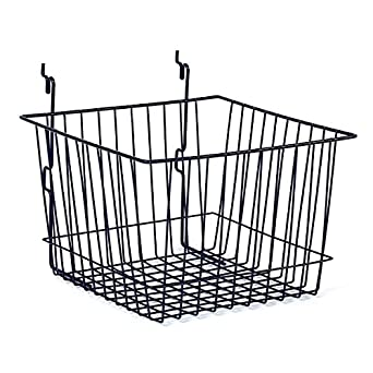 "KC Store Fixtures A03007 Basket Fits Slatwall, Grid, Pegboard, 12"" W x 12"" D x 8"" H, Black (Pack of 6)"