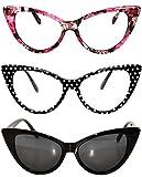 3 pairs Cat Eye Sunglasses Plastic Frame Black Polka Dots Floral frames