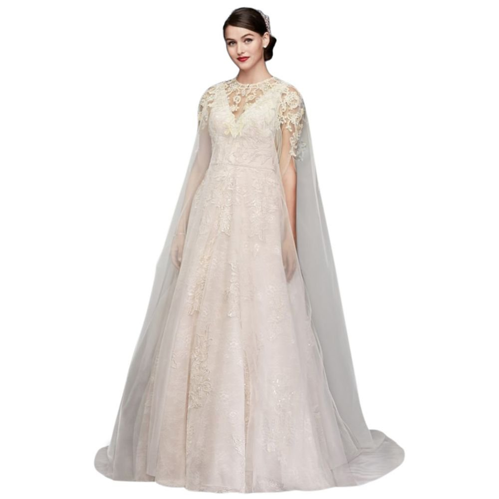 David's Bridal Long Tulle Cape With Metallic Floral Appliques Style OW2104, Ivory, 1X