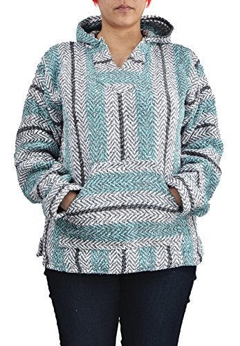 Baja Joe Striped Hoodie Woven Eco-Friendly Pullover (Small, Pastel -