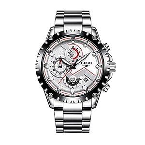 Watches Men's Quartz Business Sport Wrist Watch Chronograph Silver Steel Dress Top Brand Men Watches