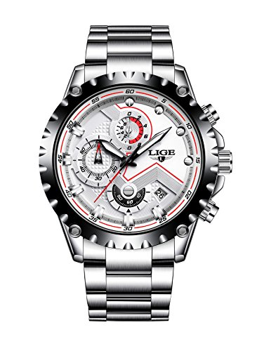 - Watches Men's Quartz Business Sport Wrist Watch - Chronograph Silver Steel Dress Top Brand Men Watches