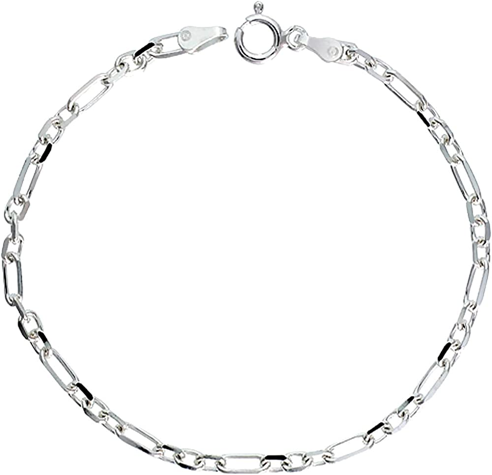 Sterling Silver Figaro Cable Link Chain Necklaces & Bracelets 3mm Beveled Nickel Free. Sizes 7-30 inch