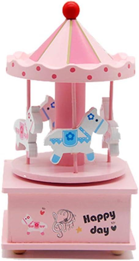 LSX Manualidades de Madera Carrusel Caja de música Creativa 4 Caballos Caja de música Caja de música Sky City Decoración del hogar Regalo de los niños Juguetes (Rosa Azul)
