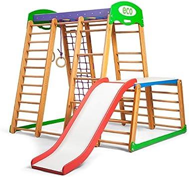 KindSport Centro de Actividades con tobogán ˝Karapuz-Plus-1-1˝, Red de Escalada, Anillos, Escalera Sueco, Campo de Juego Infantil, Juguetes