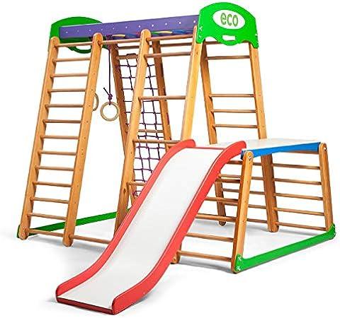 KindSport Centro de Actividades con tobogán ˝Karapuz-Plus-1-1˝, Red de Escalada, Anillos, Escalera Sueco, Campo de Juego Infantil, Juguetes: Amazon.es: Juguetes y juegos