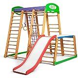 kinder zu hause aus holz spielplatz mit rutschbahn junior kletternetz ringe kletterwand. Black Bedroom Furniture Sets. Home Design Ideas