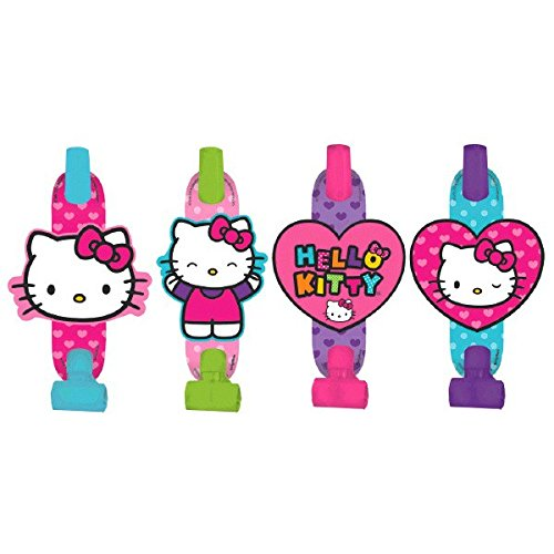 "Adorable Hello Kitty Rainbow Blowouts Birthday Party Noisemaker Toy Favour (8 Pack), Multi Color, 5""."
