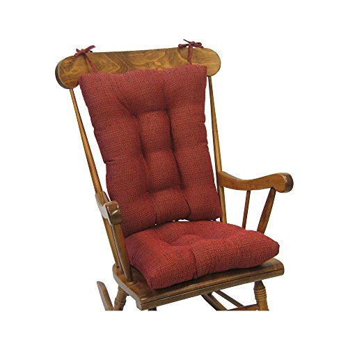 Klear Vu Tyson Extra Large Fabric Rocking Chair Cushions Pad Set, Red