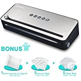 Bonsenkitchen Vacuum Sealer with Built-in Cutter & Roll Bag Storage, Lightweight Food Saver for Dry and Moist Food Fresh Preservation, Vacuum Roll Bags & Hose Included, Black VS3802