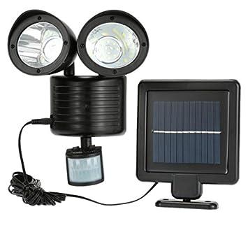 newnen 22 LED Solar Luz de doble cabeza PIR Sensor de movimiento jardín Patio Foco de