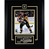Sidney Crosby Autographed Etched Mat Penguins Black Action with 50 Years Patch 8x10 Framed Photo Frameworth Auth - Authentic Autograph