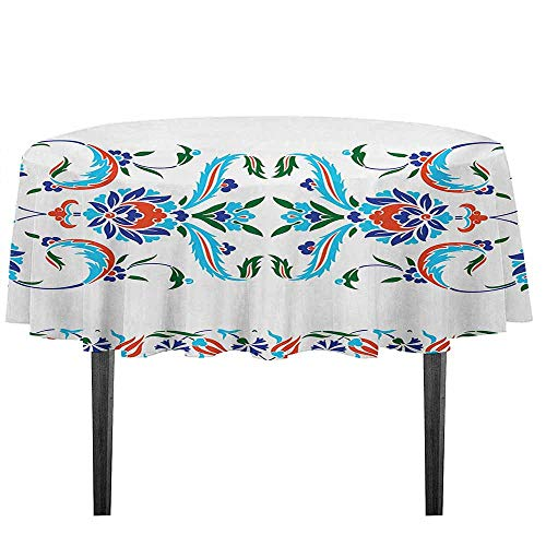 (kangkaishi Ethnic Leakproof Polyester Tablecloth Old Turkish Ceramic Style with Tulips Vintage Ottoman Heritage Ethnic Image Print Outdoor and Indoor use D35.4 Inch Blue Red)