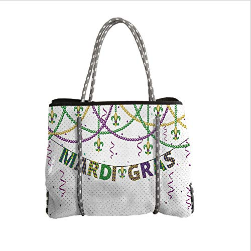 iPrint Neoprene Multipurpose Beach Bag Tote Bags,Mardi Gras,Festive Decorations with Fleur De Lis Icons Hanging from Colorful Beads Decorative,Purple Green Yellow,Women Casual Handbag Tote Bags