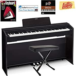 Casio Privia PX-870 Digital Piano - Black Bundle with Adjustable Bench, Instructional Book, Austin Bazaar Instructional DVD, and Polishing Cloth