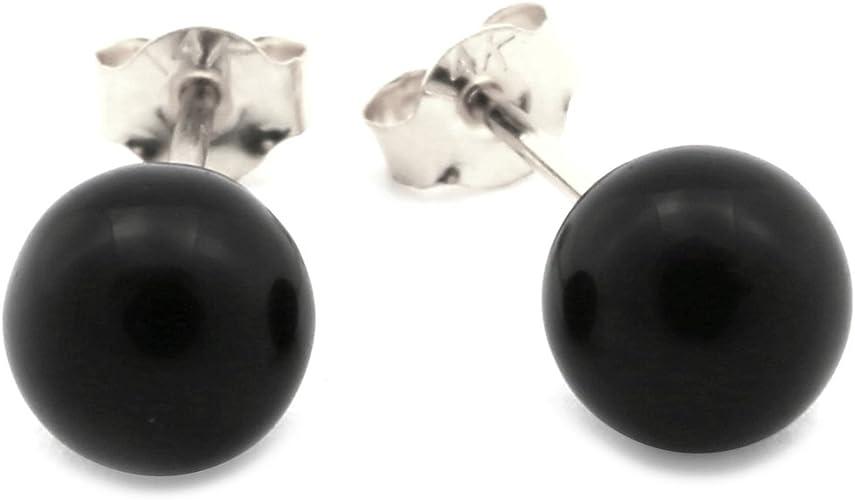 14k White Gold 8 mm Black Simulated Onyx Ball Stud Earrings