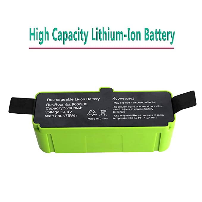 Mr.Batt Lithium-ion Replacement Battery for Roomba 960 895 890 860 695 680 690 640 and 614 Robot Vacuums 5200mAh 14.4V