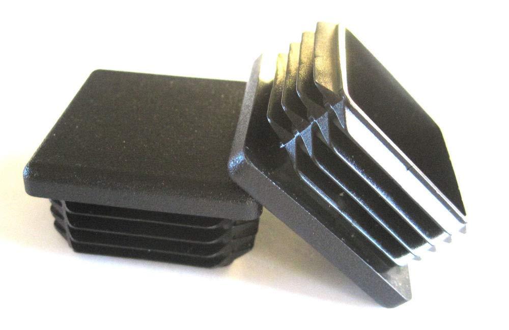 (Pack of 10) - 1' Square Black Plastic Tubing Plug (1 Sq Inch) End Cap for 14 - 20 Ga Steel 1'x1' Fence Post Pipe. Tube Cover Insert Finishing Plug - Fitness Eqpt End Caps SB Distribution Ltd.