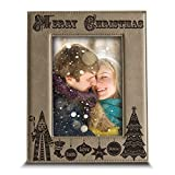 """Bella Busta - """" Merry Christmas """"- Joy-Peace-Love-Faith-Believe- Engraved Leather Picture Frame -Christmas - Best Reviews Guide"""