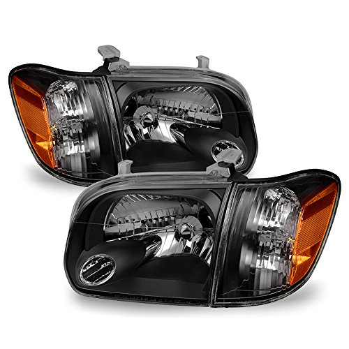 ACANII - For 2005-2006 Toyota Tundra Double | Crew Cab 2007 Sequoia Black Headlights w/Corner Lamps Driver + Passenger