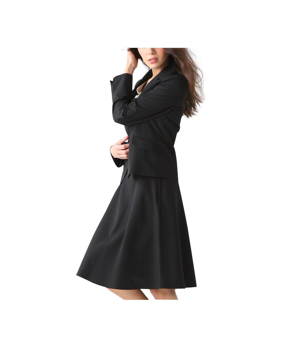 (ニッセン) nissen スカートスーツ 洗える 上下 セット (パイピング テーラードジャケット + フレアスカート) 令嬢スーツ レディース 大きいサイズ 15号 17号 19号 21号 23号 26号 30号 34号 38号 B0793QXSTT 34号 ブラック ブラック 34号