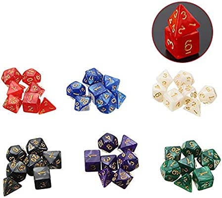 42 piezas Polyhedral dice set, dados de juego de mesa de varios colores Dungeons and Dragons DND RPG MTG mesas de juego de dados: Amazon.es: Amazon.es