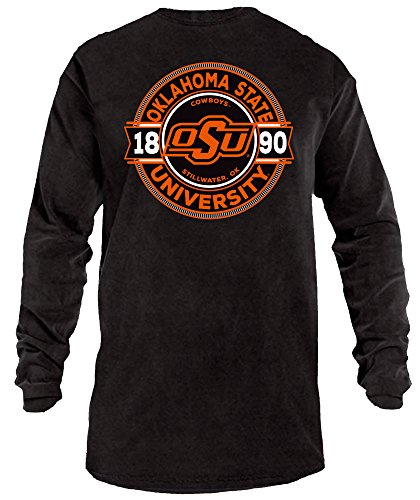 NCAA Oklahoma State Cowboys Rounds Long Sleeve Comfort Color Tee, Large,Black
