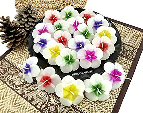 NAVA CHIANGMAI Plumeria Flower Floating Candles 10 pieces / 1 Set
