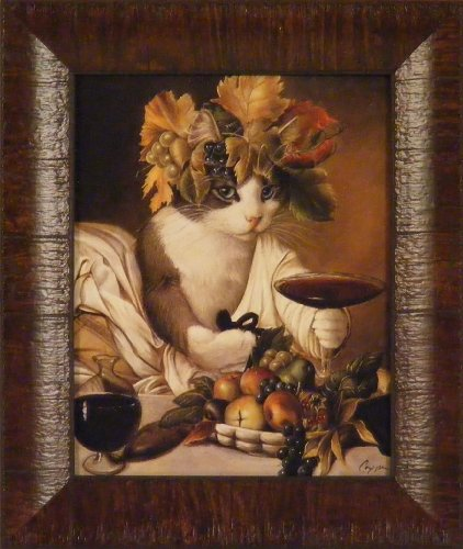 Widget As Bacchus by Melinda Copper 11x13 Cat Drinking Wine Whimsical Framed Art Print Wall Décor Picture