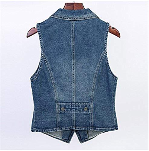 Sleeveless Primaverile Donna Giovane Coat Gilet Colour Single Casual Taglie Elegante Denim Breasted Jeans Estivi Moda Chic Giorno Relaxed Forti Giacca Bavero 101wpq