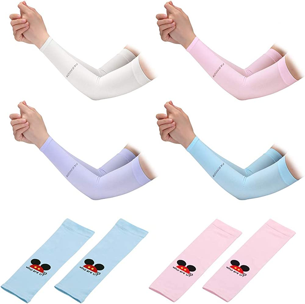 N2 6 Pairs Arm Cooling Sleeves UV Protection for Men & Women & Kids, Sunblock Protective Long Arm Cover Warmer for Cycling Driving Running Camping Golf Basketball Football Outdoor Activities, White+blue+pink+purple, One Size