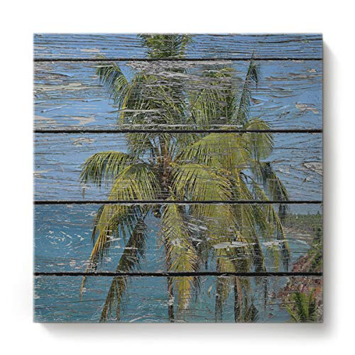 GreaBen Modern Canvas Wall Art Square Oil Painting Home Decor for Office Hotel,Retro Wood Grain Pattern of Palm Tree Canvas Artworks,Stretched by Wooden Frame,Ready to Hang,16 x 16 Inch