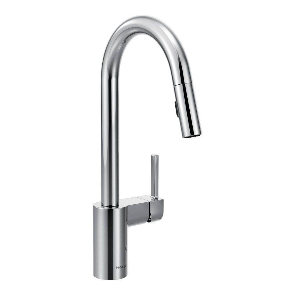 Moen 7565 Align One Handle High Arc Pulldown Kitchen Faucet, Chrome   Touch  On Kitchen Sink Faucets   Amazon.com