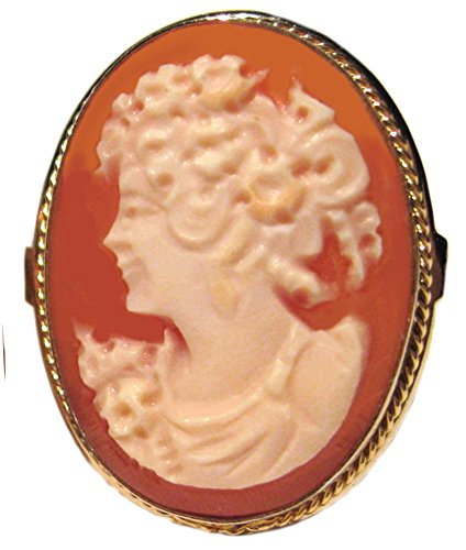 - Cameo Ring Master Carved, Carnelian Conch Shell Size 7.5 Sterling Silver, 18k Gold Overlay Italian