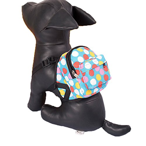 - Porlik Dog Backpack Harness with Leash Set, Multicolor Dots Backpack Design Outdoor Rucksack Zipper Daypack, Fits to Small Medium Dogs.