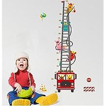 ufengke® Cartoon Fire Truck Fireman Height Chart Decals, Children's Room Nursery Removable Wall Stickers Murals