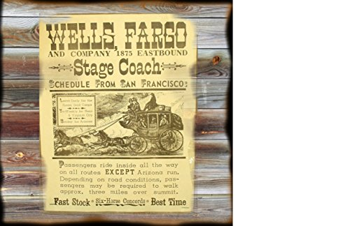 12 x 12 Inch Wood Sign Wanted Poster Wells Fargo Stage Coach Lines