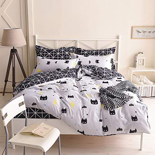 Olwen Shop Bedding Sets - Wongs Batman Bedding Set Black Color Cartoon Duvet Cover Sheet Bed Cover Single Full Queen King Size Beddings for Kids