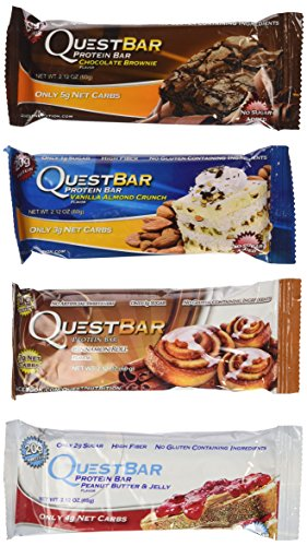 Quest Variety Pack, Cinnamon Roll, Vanilla Almond Crunch, Peanut Butter and Jelly, and Chocolate Brownie, 12 Protein Bars (Quest Bars Dessert compare prices)