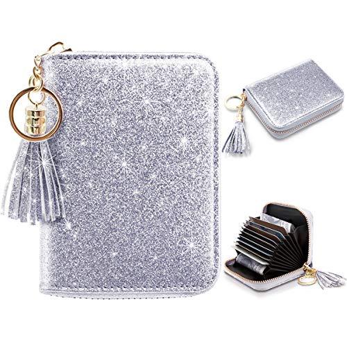 Women's Small Credit Card Wallet RFID Glitter Cute Credit Card Holder Wallets for Women -Silver (Card 9 Holder Wallet)