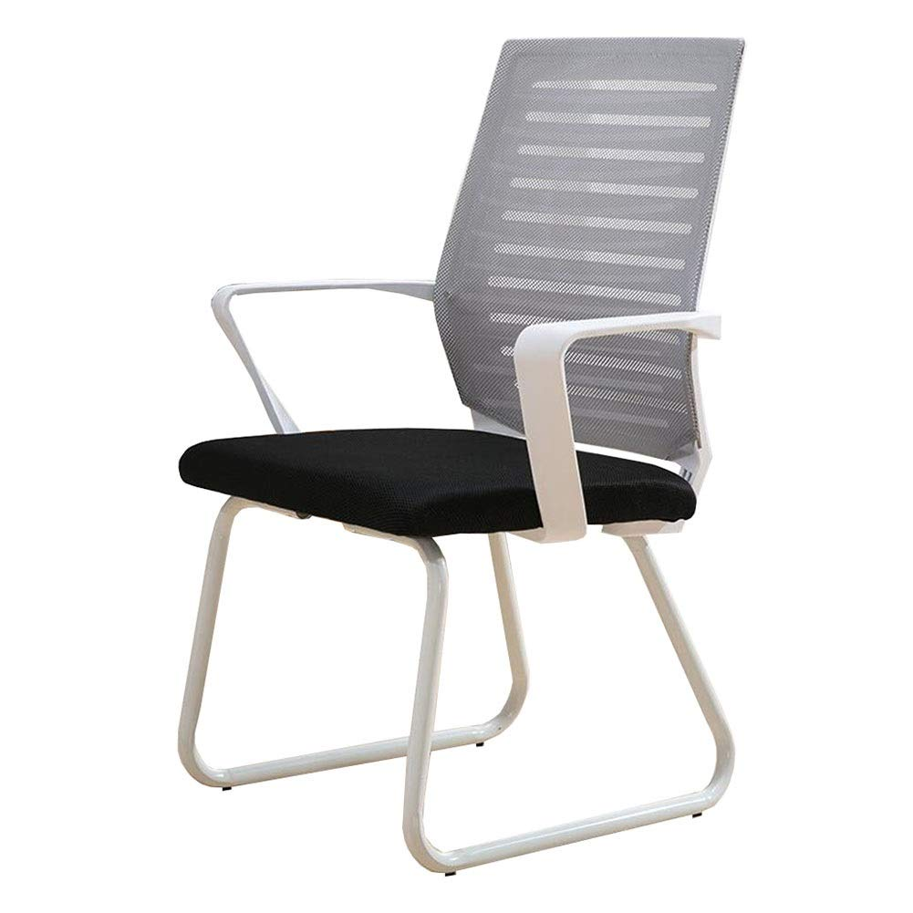 Dall Office Desk Chair Bow-Shape Ergonomic Breathable Mesh Conference Chair Steel Frame Lumbar Support Staff Chair (Color : Gray, Size : White Frame)