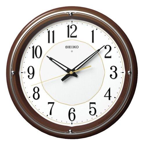 SEIKO CLOCK(セイコークロック) ファインライトNEO 自動点灯木枠アナログ電波掛時計(薄茶) KX396B B00L9O57V8