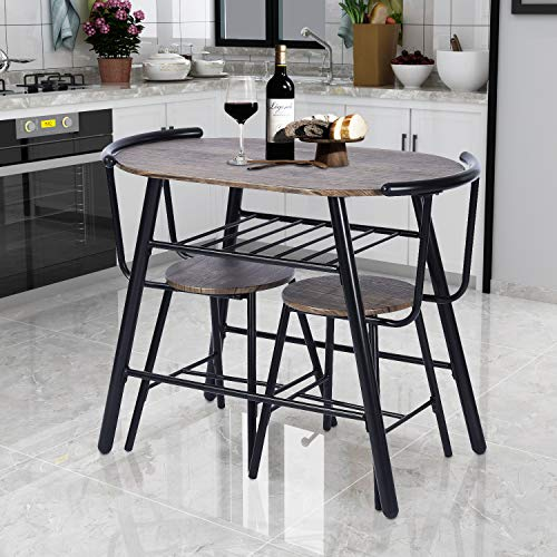 (GreenForest 3-Piece Dining Table and Chairs Set Modern Breakfast Table Sets Rustic Bistro Dining Set Bar Pub Table Sets Restaurant Kitchen Table Set, 3 Pieces)