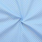 STOFFKONTOR Baumwollstoff Tupfen Klein Stoff Meterware Hell Blau