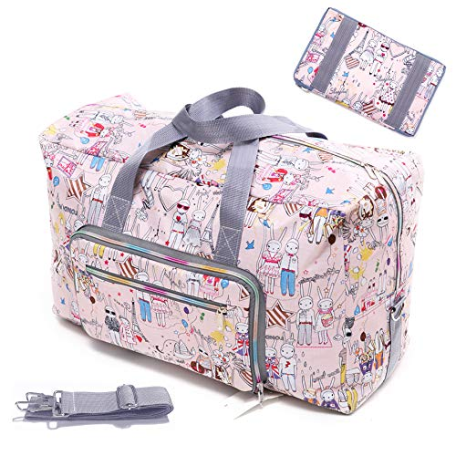 Rabbit Bag - Womens Foldable Travel Duffel Bag 50L Large Cute Floral Travel Bag Hospital Bag Weekender Overnight Carry On Bag Checked Luggage Tote Bag For Girls Kids (rabbit)