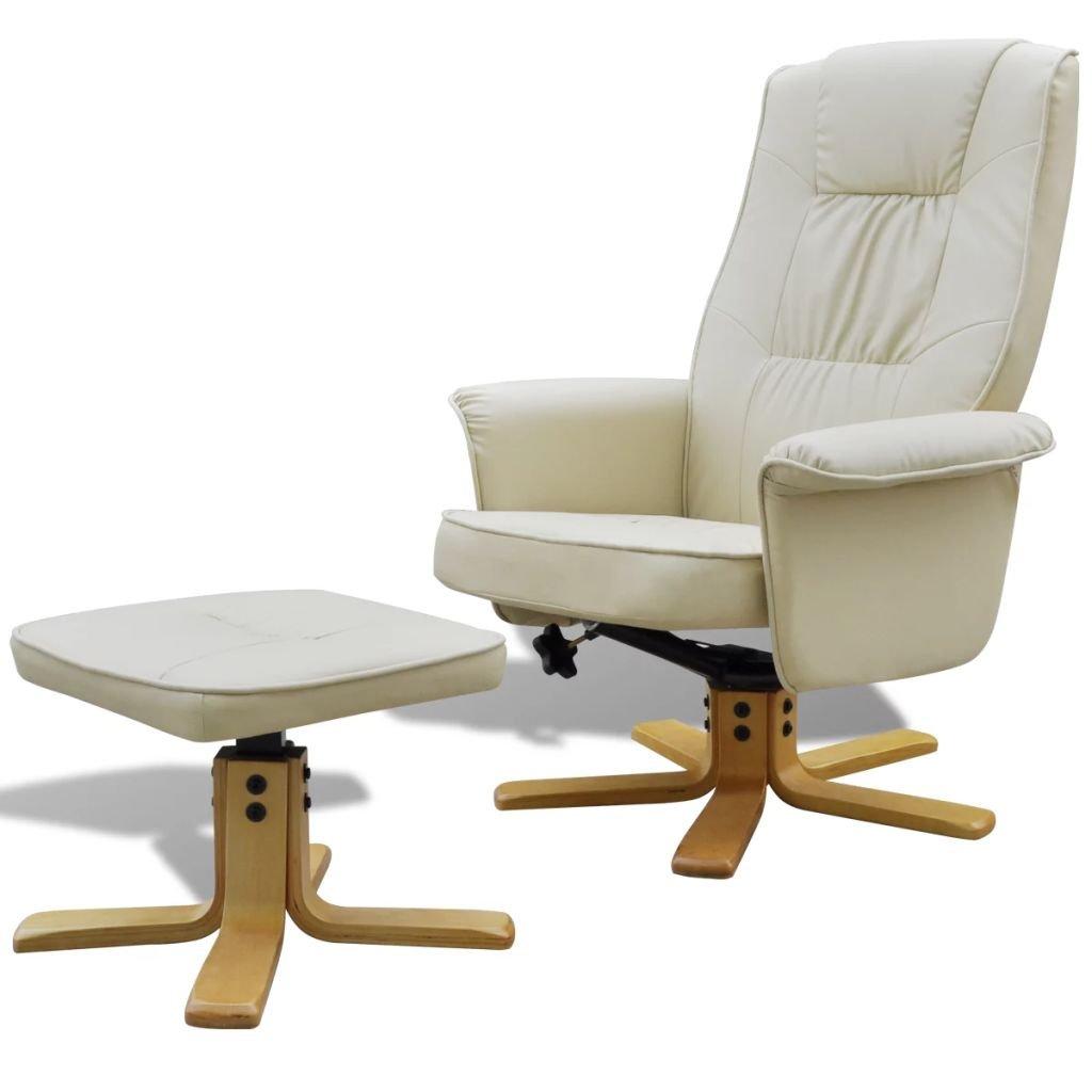 Bemerkenswert Sessel Mit Fußstütze Ideen Von Furnituredeals Design- Fußstütze Verstellbar Kunstleder Weiß Creme