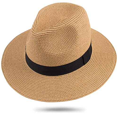 (Maylisacc Womens Wide Brim Panama Sun Hat Packable Straw-Fedora Hats for Men Women Large Beach (Khaki FK))